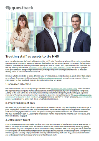 Treating Staff as Assets to the NHS