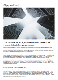 The Importance of Organisation Effectiveness to Success in Fast Changing Markets