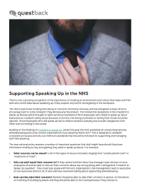 Supporting Speaking Up in the NHS