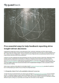 5 Essential Ways to Help Feedback Reporting Drive Insight-Drive Decisions