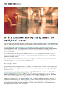 The NHS in Crisis: The Cost Imposed by Absenteeism and High Staff Turnover
